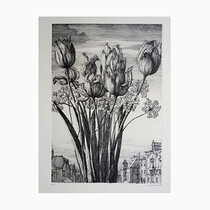 Tulips and Rooftops of Paris Engraving by Erik Desmazières