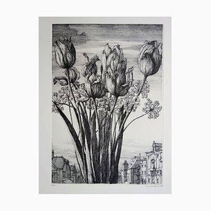 Tulips and Rooftops of Paris Engraving by Erik Desmazières