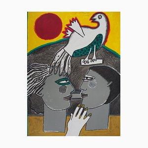 CORNEILLE : Couple à la colombe - Lithographie originale Signée
