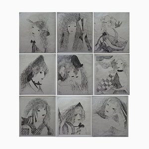 The Fan Engravings by Marie Laurencin, Set of 10
