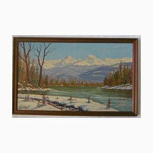 La Chaine des Alpes et L'île d'Amour Oil on Cardboard by Charles Cornud