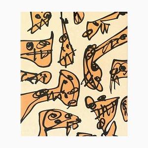 """Antonio SAURA - """"Inharmonics"""" 1991, original lithograph"""
