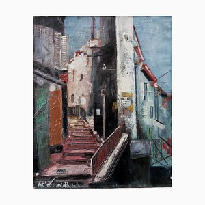 Old Street at Eze Oil on Canvas by Michel Marie Poulain