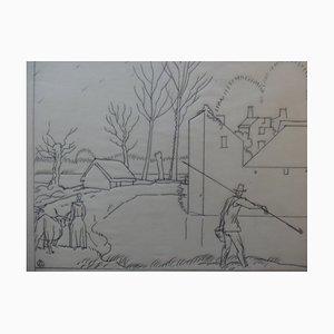 Disegno a matita Rustic Manor di Jean-Emile Laboureur