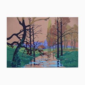 Robert PICHON (attributed to) - Stream in autumn, original gouache (Belle époque 1920/30)