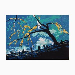 Twilight on the Stream Gouache by Robert Pichon