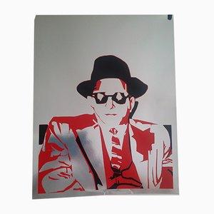 Man with Hat Silkscreen on Aluminum Paper by Bernard Rancillac