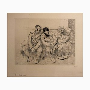Between Two Trains Lithograph by Théophile Alexandre Steinlen, 1916