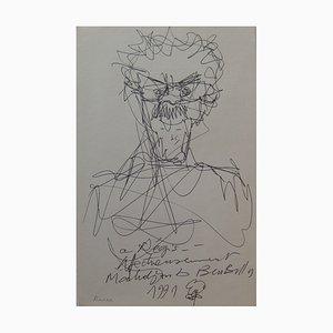 Homme à la Moustache Ink Drawing by Mahjoub ben Bella