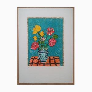Bouquet Lithograph in Pencil by Paul Aizpiri