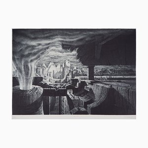 Gérard TRIGNAC - The city, 1990, original signed engraving