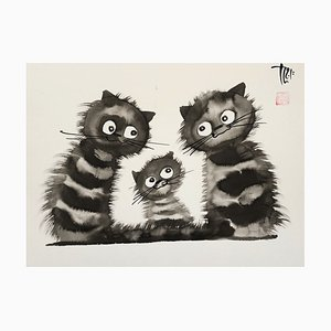 Laszlo TIBAY - Family of Cats with Kitten - Handsigned Original Ink Drawing