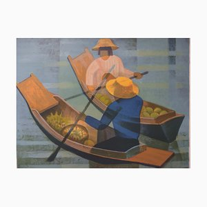 Louis TOFFOLI - Floating Market, original signed lithograph