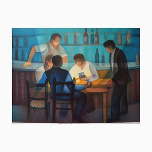 Louis TOFFOLI (1907-1999) - The Bistro (Tribute to The Card Players by Cézanne), original signed lithograph