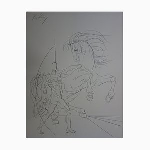 Franz Priking - Archer with thoroughbred, original signed drawing