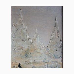 Mara TRAN LONG : Paysage montagneux - Huile sur carton signée
