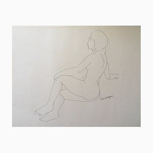 Pierre AMBROGIANI - The wait, original drawing, signed