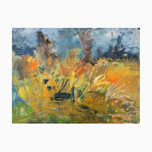 Roland Dubuc: Field in spring - signed original gouache