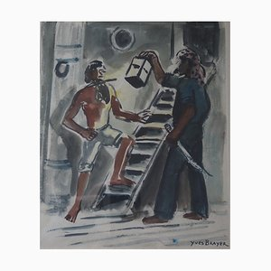 The Lantern Watercolor by Yves Brayer