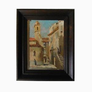 Provencal Village Scene Oil on Wood Panel by Charles Giraudon