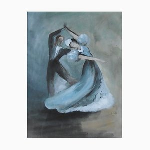 Jean TOTH - Flamenco dancers, one with blue dress, signed watercolour and gouache