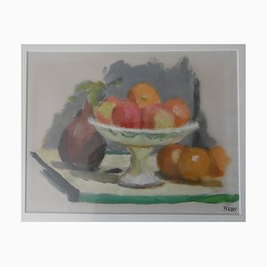 Nature Morte Aux Fruits Gouache by René Ruby