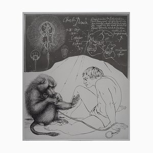 Evolution: Descendance of Man Engraving by Pierre-Yves Tremois
