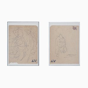 Etudes de Costume Drawings by Louis Valtat, Set of 2