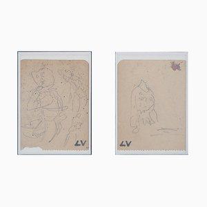 Etudes de Costume Zeichnungen von Louis Valtat, 2er Set