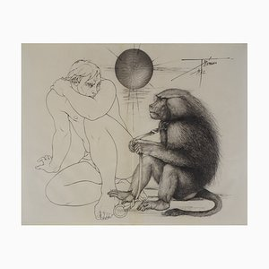 Pierre-Yves TRÉMOIS, A Chained monkey facing a man Original etching on parchment