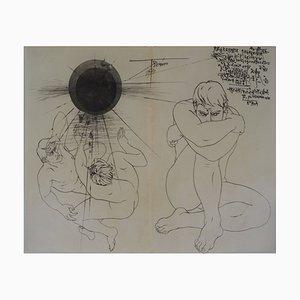 Gravure à l'Eau-Forte La Solitude des Hommes Vintage par Pierre-Yves Trémois