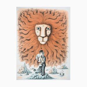 Raymond PEYNET : Signe du zodiaque, Lion - Gravure originale signée