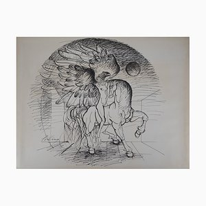 Cheval et Griffon Drawing by Franz Priking
