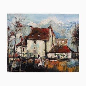 Michel-Marie POULAIN - Maison dans les Yvelines, Huile sur panneau signée