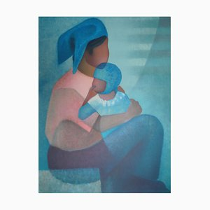 Maternité au Corsage Rose Lithograph by Louis Toffoli