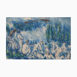 Bathers in the Shade of Willow Tree Lithograph Reprint by Paul Cezanne, 1947