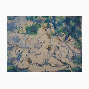 Bathers near the Sainte-Victoire Mountain Lithograph Reprint by Paul Cezanne, 1947