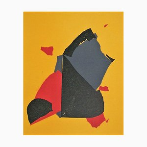 Composition on Yellow Background Lithograph in Colors Reprint by Nicolas de Stael, 1958