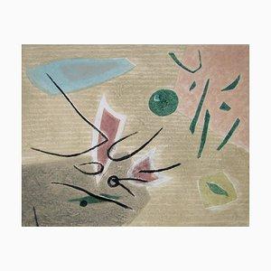 Composition Radierung mit Karborundum von Henri Goetz, 1975