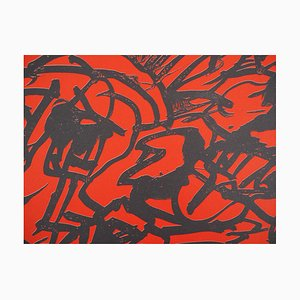 Red Composition Lithograph by Pierre Alechinsky, 1982