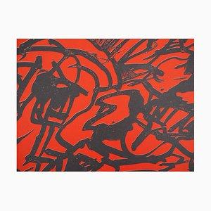 Red Composition Lithographie von Pierre Alechinsky, 1982