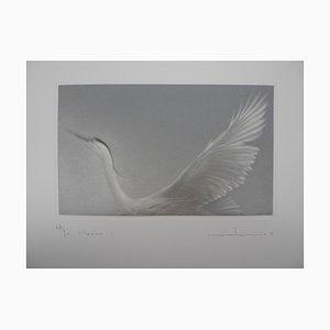 Incisione Heron in Flight di Mikio Watanabe