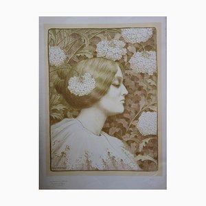 Paul Berthon - Femme aux fleurs, Originale Lithographie (1896-1900)