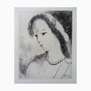 Marie LAURENCIN: Young Girl With Pearl Necklace - Original Etching Signed, 1942