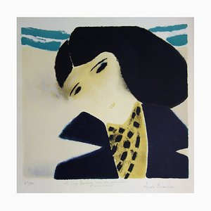 André Brasilier - Young woman with scarf, original signed lithograph