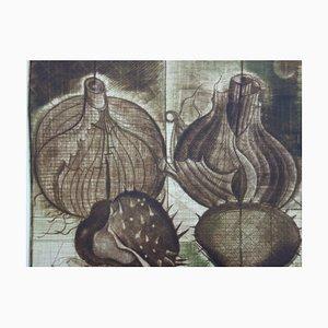 Brigitte COUDRAIN : Les oignons, Gravure originale signée