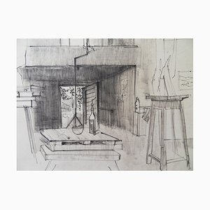 Pierre AMBROGIANI - In the workshop, original signed drawing