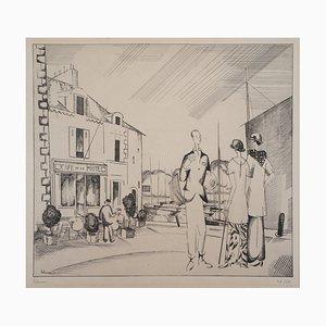 Jean Émile LABOUREUR : Le café sur le port - Gravure Originale Signée