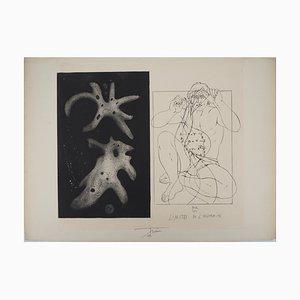 Pierre-Yves TREMOIS - Homme déroulant de l'ADN, gravure originale signée