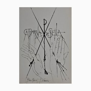 Pierre-Yves Trémois - Sienne, Catharina di Siena - Handsigned dry point - 1963